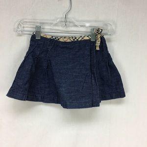 Burberry Dark Wash Denim Wrap Pleat Skirt